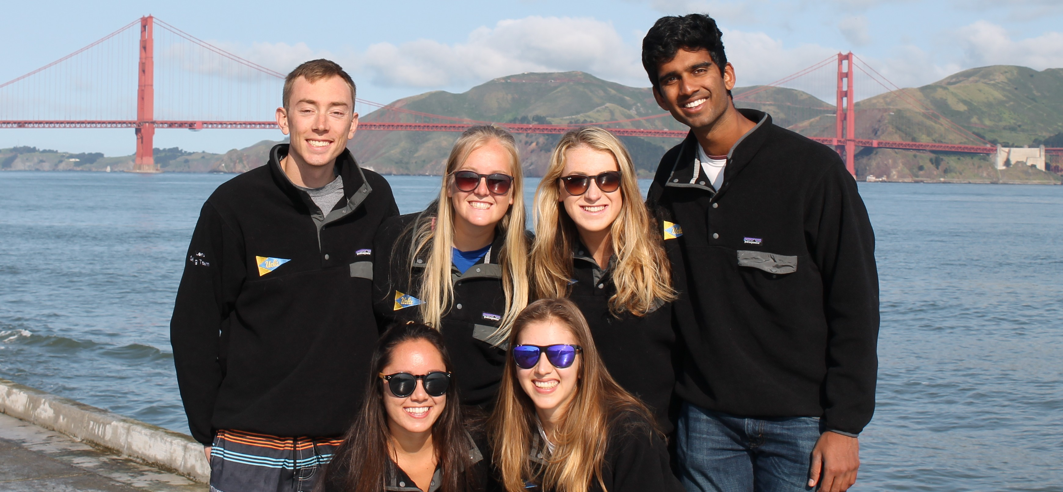 Bruins at the 2017 St. Francis regatta.  Back row (left to right):  Nicholas Lenz('19), Kylie Sullivan ('17), Maddy Kuhn ('20), and Arjun Boddu ('18)  Front: Leah Ford ('19), Laura Roudebush ('18)